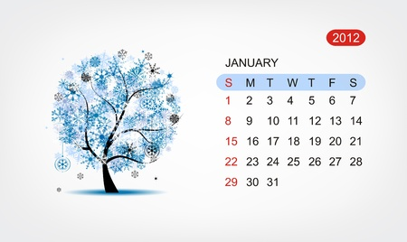 Vector calendar 2012, january. Art tree design Vector