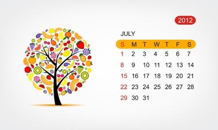 dates fruit: Calendario de vector 2012, julio. Dise�o de �rbol de arte