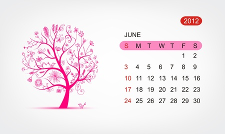 Vector calendar 2012, june. Art tree design Vector