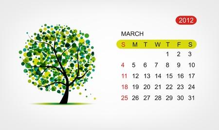 Vector calendar 2012, march. Art tree design Vector