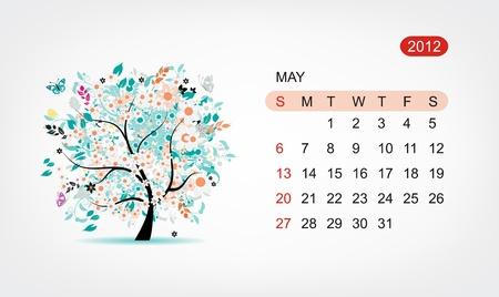 Vector calendar 2012, may. Art tree design Stock Vector - 11009570
