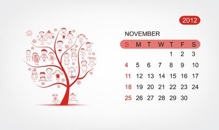 Vector calendar 2012, november. Art tree design Vector