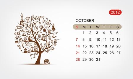 Vector calendar 2012, october. Art tree design Vector