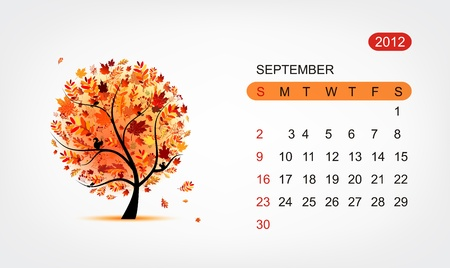 Vector calendar 2012,september. Art tree design Vector