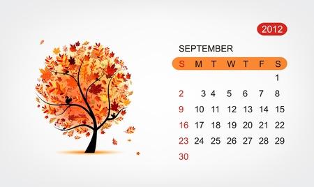 calendario septiembre: Vector de calendario de 2012, septiembre. El arte del dise�o de �rboles