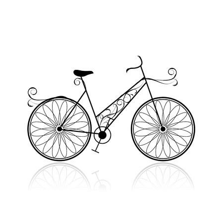 bicicleta retro: Mujer en bicicleta para su diseño