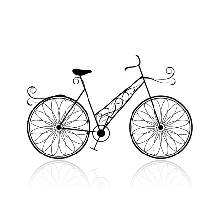 bicicleta retro: Mujer en bicicleta para su dise�o