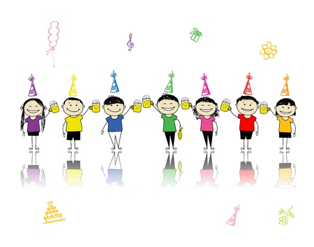 Birthday party, friends with beer mugs for your design Stock Vector - 11009548