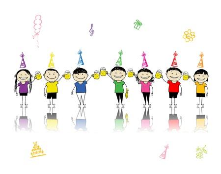 fiesta amigos: Fiesta de cumplea�os, amigos con jarras para el dise�o  Vectores