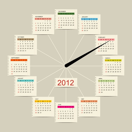 Calendar watch 2012 for your design Stock Vector - 11009528