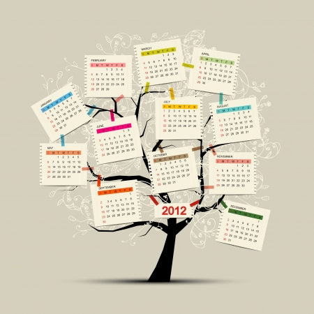 Calendar tree 2012 for your design Vector