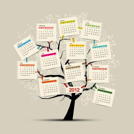 october calendar: Calendar tree 2012 for your design