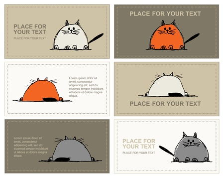 gray cat: Business cards with cats sketch for your design