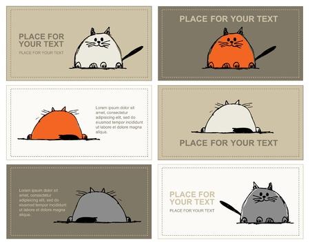 Visitekaartjes met katten schets voor uw ontwerp