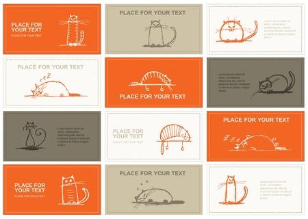 visitekaartje: Visitekaartjes met katten schets voor uw ontwerp
