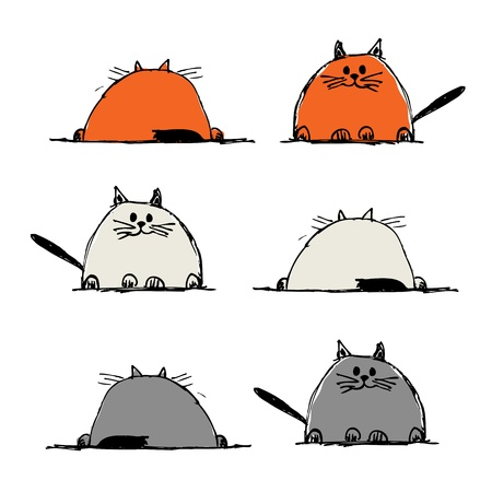 silueta de gato: Gatos graciosos, boceto para el diseño