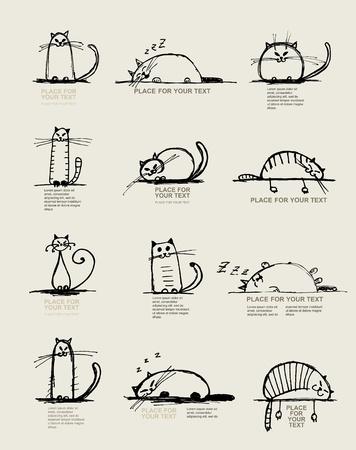 gato caricatura: Esbozo de gatos gracioso, dise�o con lugar para el texto