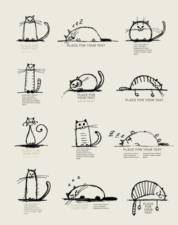 kitten cartoon: Funny cats sketch, design with place for your text Illustration