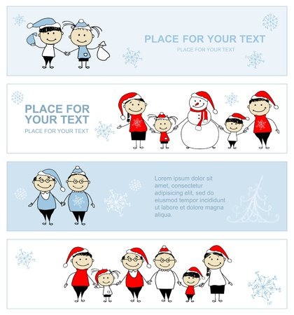 Happy family together, christmas holiday banner for your design Vector