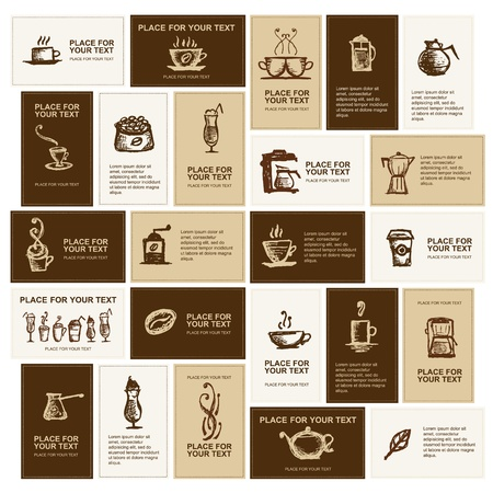 Diseño de tarjetas de presentación para empresa de café  Ilustración de vector