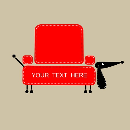 Funny dog with shape of sofa for your design  Vector