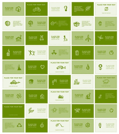 ecology: Business cards with ecology icons for your design  Illustration