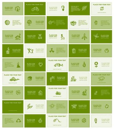 �cologie: Les cartes d'affaires avec des ic�nes pour votre design �cologique
