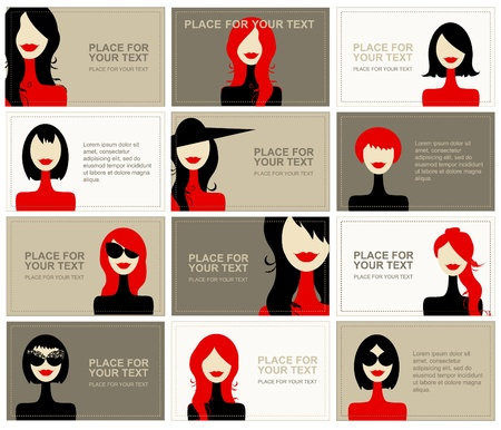 cartoon hairdresser: Business cards with woman faces for your design