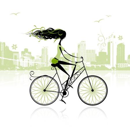 deportes caricatura: Chica en bicicleta por la ciudad Vectores