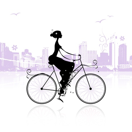 Girl cycling in the city Vector
