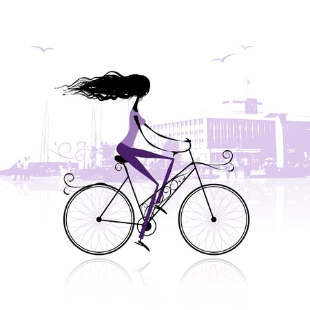 Girl cycling in the city Stock Vector - 11009531