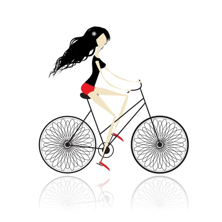 Girl cycling Stock Vector - 11009462