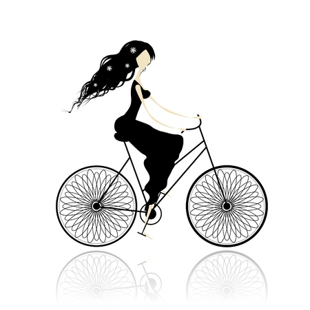 Girl in black dress cycling Vector
