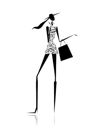 glamour woman elegant: Fashion girl silhouette with shopping bag