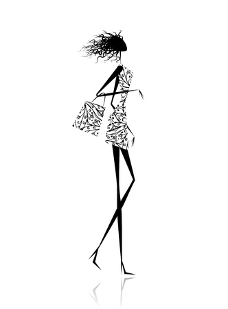 glamour shopping: Fashion girl silhouette with shopping bag