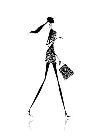 fashion design sketch: Fashion girl silhouette with shopping bag