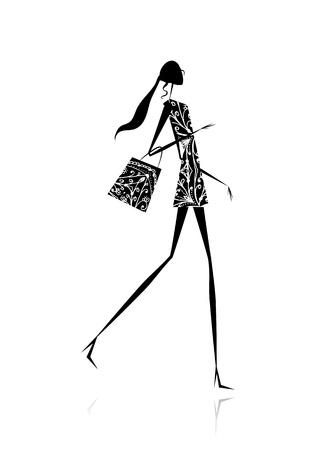 meisje silhouet: Fashion meisje silhouet met boodschappentas