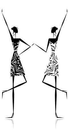 elegância: Fashion girls silhouette for your design Ilustração