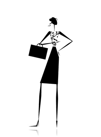 Business lady, silhouette for your design Stock Vector - 11009409