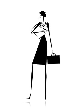 sexy business woman: Business lady, silhouette for your design