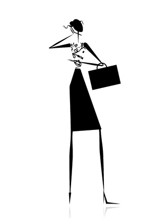 girl at phone: Business lady, silhouette for your design