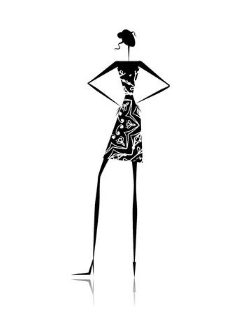 meisje silhouet: Fashion girl silhouet voor uw ontwerp