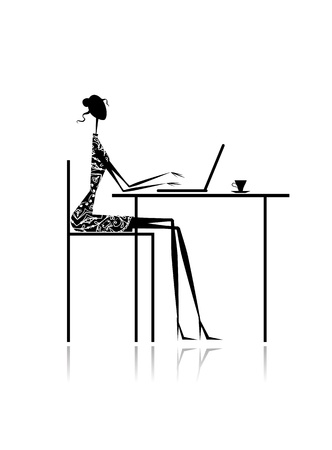 woman laptop: Fashion girl silhouette with laptop in cafe for your design