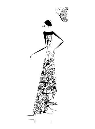 WOMAN SILHOUETTE: Fashion girl silhouette in wedding dress for your design