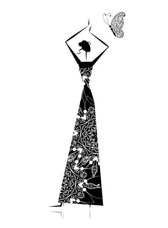 Fashion Girl Silhouette im Hochzeitskleid für Ihr Design