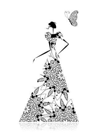 suknia ślubna: Sylwetka dziewczyny Moda w sukni Å›lubnej dla projektu Ilustracja