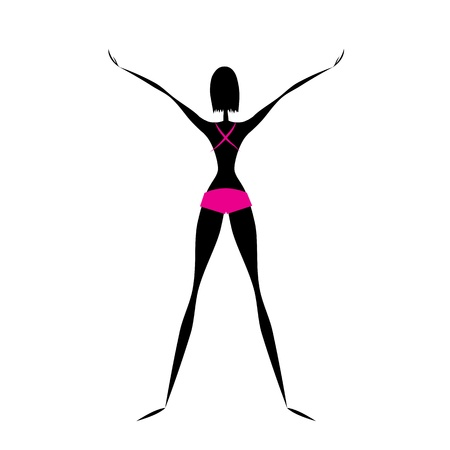 Fitness girl doing exercises Vector