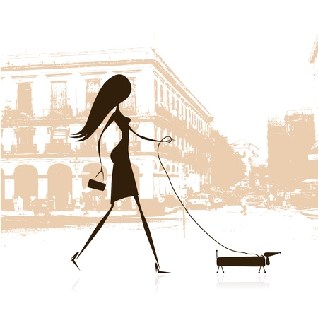 glamour shopping: Woman walking with dog on the street Illustration