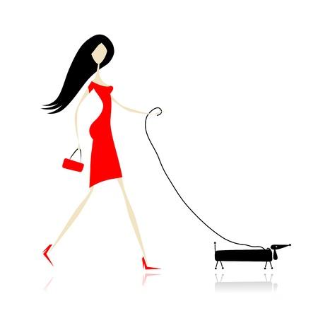 mujer perro: Mujer en vestido rojo caminar con el perro