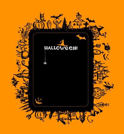boom halloween: Halloween frame voor uw ontwerp Stock Illustratie